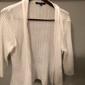 White open front cardigan